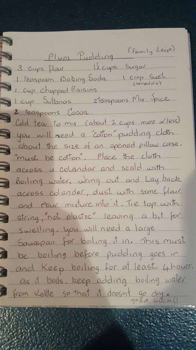 Handwritten Plum Duff recipe from Nan Kemp