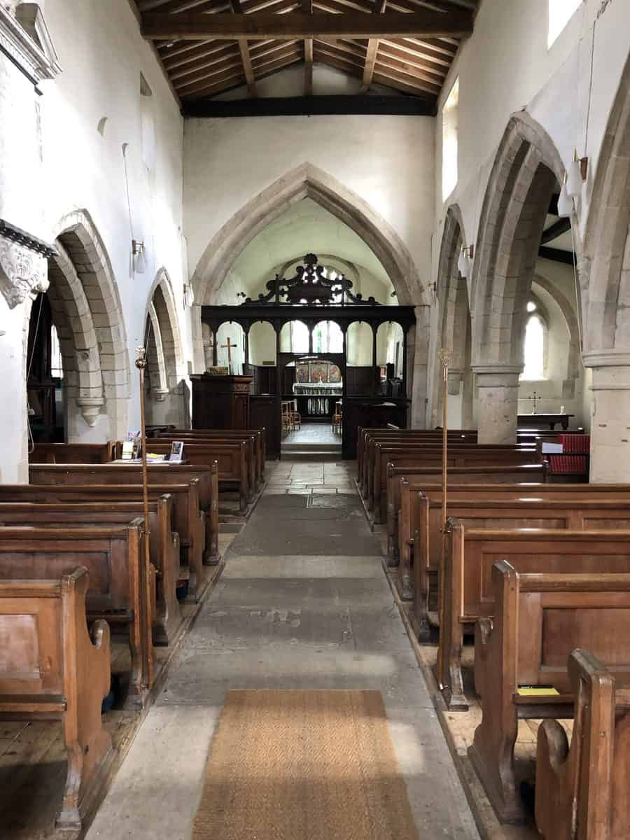 The aisle at St Mary's, Longworth.